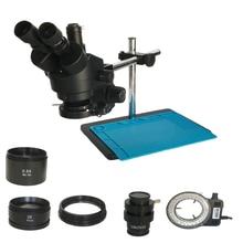 3.5X 90X Simul Focal Industriële Trinoculaire Stereo Microscoop Solderen Dual Arm Microscopio Led Verlichting Lamp Sieraden Pcb Reparatie
