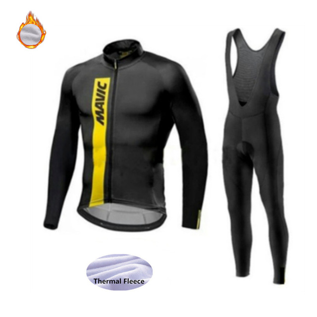 2020 Mavic Pro team Winter Thermal Fleece Long Sleeve Cycling Jersey Set MTB Bicycle Maillot Ropa Ciclismo Bike Clothing Uniform
