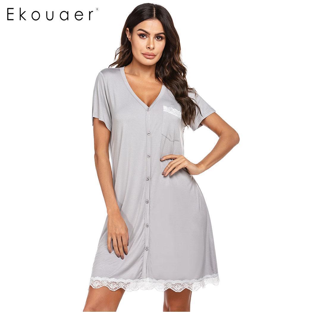 Ekouaer Summer Nightgown Women Chemise Sleepwear V-Neck Short Sleeve Button Contrast Striped Nightdress Female Loungewear