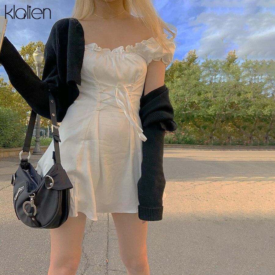 KLALIEN Fashion Elegant Bow White Female Mini Dress Summer Party Birthday Festival Cute Sexy French Romantic Silk Dress Women 3