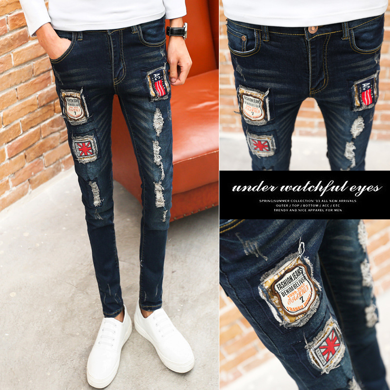 Fashion 2020 streetwear tight stretch Skinny jeans hombre men's hole patch personality feet trousers youth Distressed pants