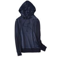 Hoodies women sweatshirt Pure silk Merino wool black pullover Loose bluzy hoddies with hat hoody hodies streetwear