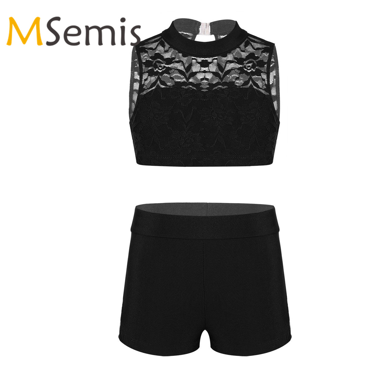 Kids Girls Gymnastics Swimsuit For Dancing Two Pieces Swimwear Crop Top With Shorts Outfit Children's Gymnastics Bathing Suit