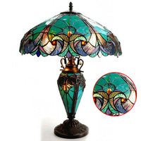 American Tiffany Stained Glass Table Lamp Resin Base Living Room Bedside Lamp Villa Club Decorative Lamps Bedroom Lamp