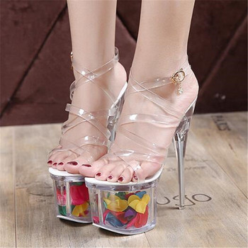 Walking Show 18CM Thin high-heeled Women Sandals PVC Buckle Strap Open Toed waterproof platform Party Wedding pumps women shoes image