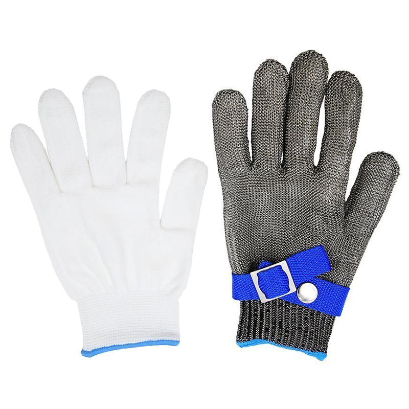 FFYY-Safety Cut Proof Stab Resistant Stainless Steel Steel Wire Butcher Blue Glove Size L High Performance Level 5 Protection #A