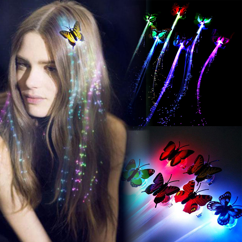 5pcs Led Flashing Hair Braid Glowing Luminescent Hairpin Novetly Hair Ornament Girls Led Toys New Year Party Christmas Gift