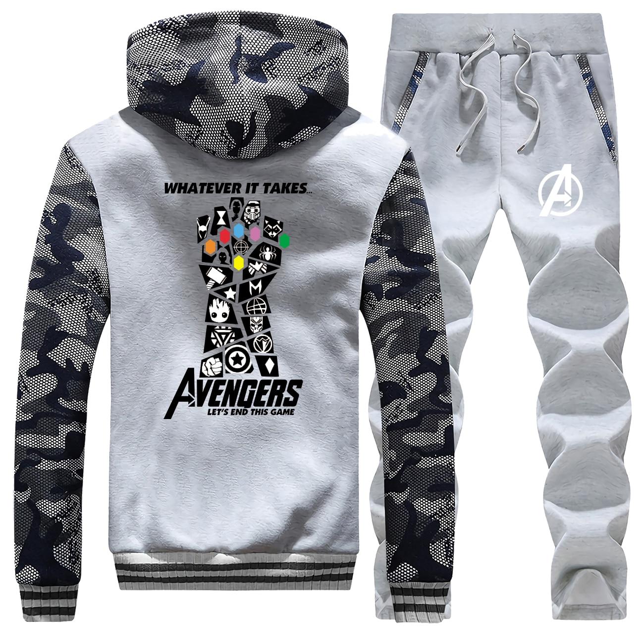Avengers Jackets Set End Game Hoodies Whatever It Takes Men's Camouflage Sets Infinity Gauntlet Fleece Fashion Sportsman Wear