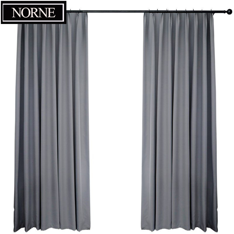 NORNE Modern Grey Blackout Curtains For Window Treatment Blinds Custom-Maded Drapes Blackout Curtains For Livingroom Bedroom