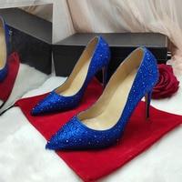 Wedding Season Full Crystal Elegant High Heels Stilettos Sexy Heels Bling Bling Women Pumps Shoes