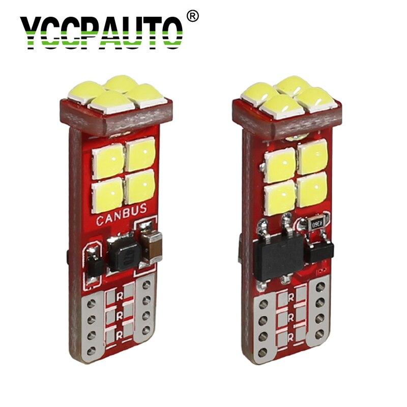YCCPAUTO 2 шт., супер яркие светодиодные лампы T10 3030, Canbus, без ошибок, W5W, светодиодный светильник для чтения интерьера, автомобильные габаритные о...