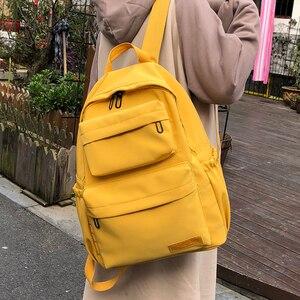 Image 4 - HOCODO Backpack For Women Solid Color School Bag For Teenage Girls Shoulder Travel Bag Multi Pocket Nylon Back pack Mochila 2019