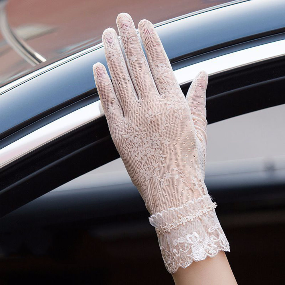 Summer Solid Color Lace Sunscreen Gloves Women's Thin Gloves Sun Protection Mitten Gloves