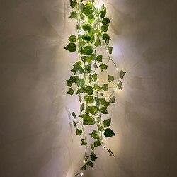 6Ft 20 светодиодов искусственные зеленые листья ротанга гирлянда светильник s искусственная Виноградная лоза
