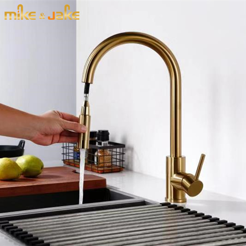Brushed gold Top quality kitchen sink faucet Lead-free 304 stainless steel Kitchen faucet Pull down cold and hot mixer faucet