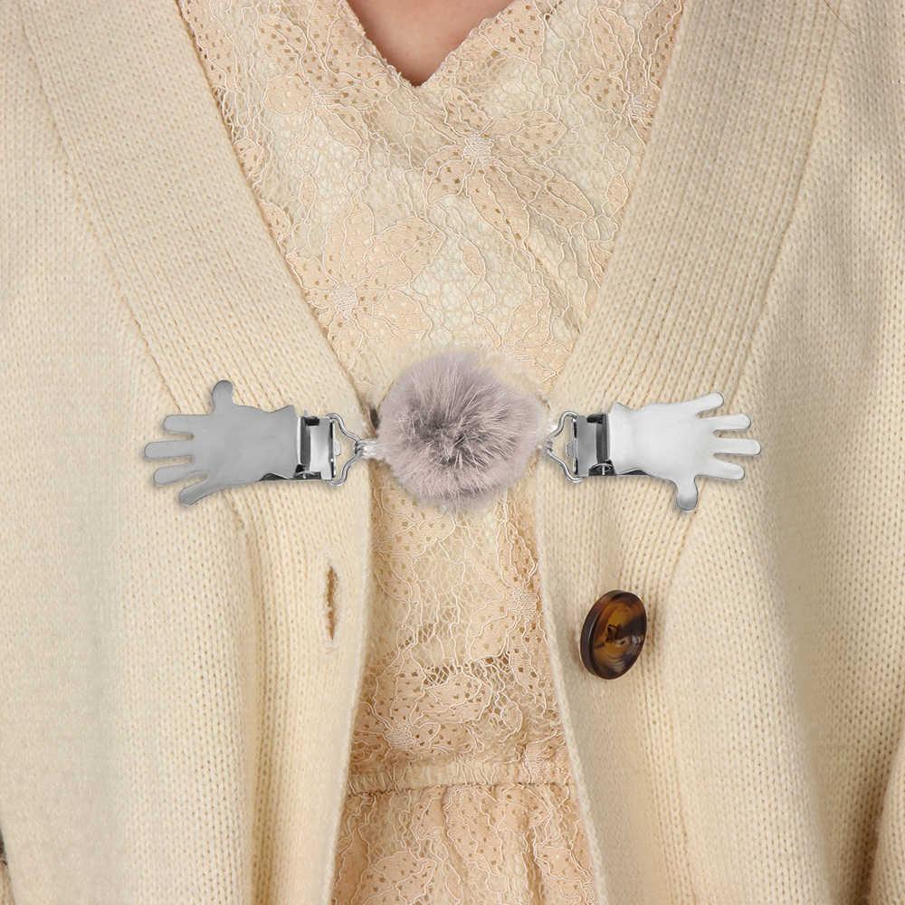 2019 Baru Lembut Kelinci Fur Ball Cardigan Klip Pakaian Tukang Kayu Wanita Bulu Imitasi Bunga Sweater Klip Selendang Pin Anak-anak Bros syal Klip