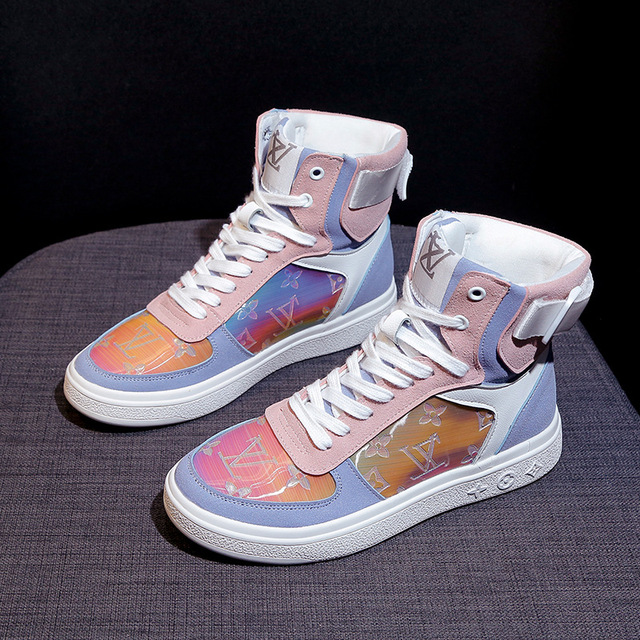 High top sneakers for women street  hip hop leather sports shoes 4