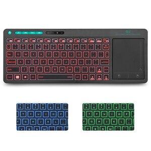 Image 3 - Rii K18 Plus Drahtlose Multimedia Englisch Russisch Spanisch Hebräisch Tastatur 3 LED Farbe Hintergrundbeleuchtung mit Multi Touch für TV Box,PC