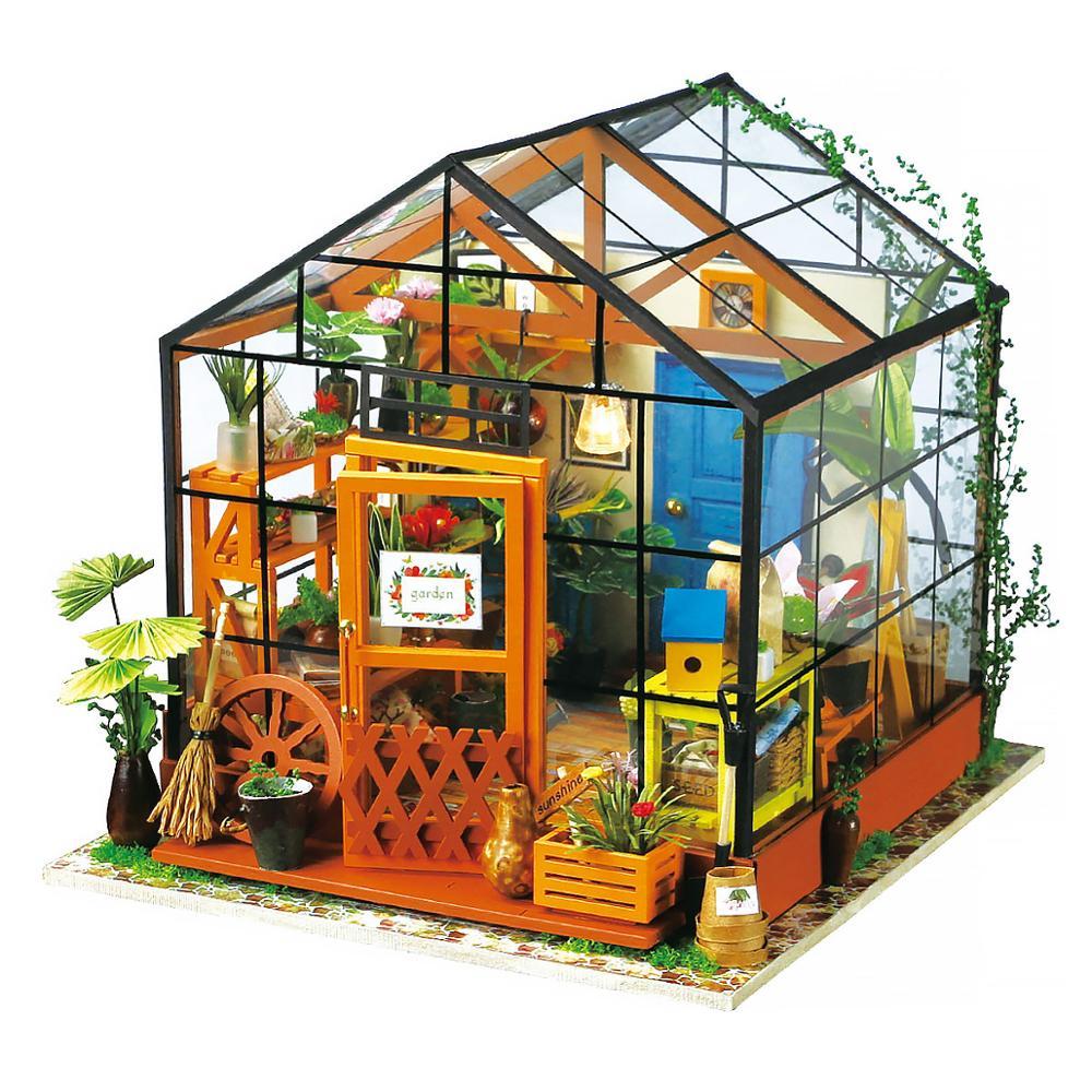 Robotime DIY houten tuin poppenhuis beeldje miniatuur poppenhuis handgemaakte decoratie Katie Flower House Art Craft