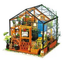 Robotime cathy casa de flores de madeira diy casa de bonecas em miniatura decoração artesanal dg104