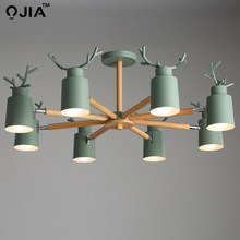 Modern LED Chandelier Lighting For Living Room white grey green Chandeliers Wooden Lustres Wood Dining Lamp Kitchen Lighting der(China)