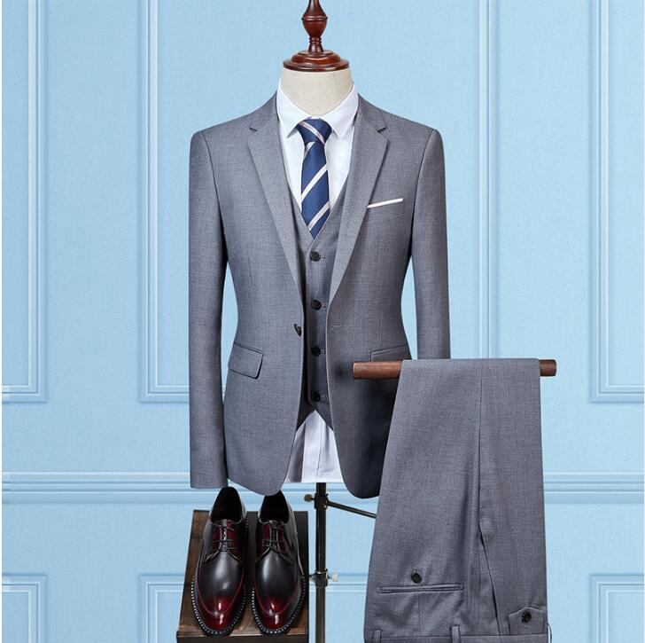 (Jackets+Vest+Pants)2019 New ArrivalSlim Suit Groom Wedding Suits For Men Tuxedo Single Button Men's Blazer Jacket Full Size
