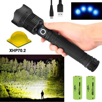 250000 Glare XHP70.2 Most Powerful LED Flashlight USB Torch Tactical XHP70 XHP50 Lantern 18650 Hunting Hand Light