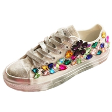 Colored Rhinestone Sneakers Canvas Shoes Women's Crystal Wed