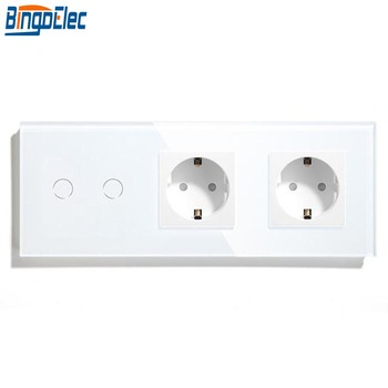 Bingoelec 2Gang 1Way Light Switch With Double 16A Germany Socket White Black Crystal Glass Panel Wall Touch Switch 86*229mm 220V