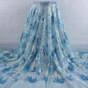 African Mesh Lace Fabric Embroidered Nigerian Sequins Lace Fabric 2020 High Quality Lace French Tulle Fabric For Women Wedding