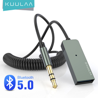 KUULAA بلوتوث Aux محول سيارة لاسلكية بلوتوث استقبال USB إلى 3.5 مللي متر جاك الصوت الموسيقى Mic يدوي محول ل مكبر صوت للسيارة