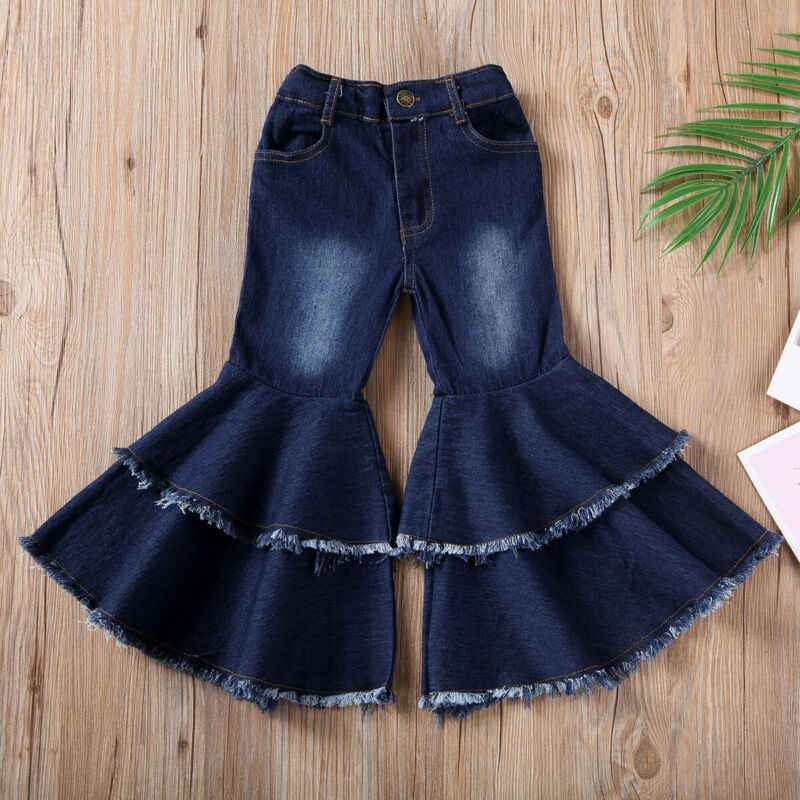2019 New fashion girls flared trousers Toddler Kids Baby Girls Jeans Bell-bottom Trousers Wide leg Denim Pants