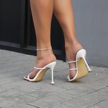 ELLALEE pantofle damskie buty na wysokim obcasie damskie szpilki nowe mody striptizerka na obcasie Outdoor Plus Size damskie letnie klapki tanie tanio Wysoka (5 cm-8 cm) Wsuwane CN (pochodzenie) Lato Na zewnątrz kapcie retro Dobrze pasuje do rozmiaru wybierz swój normalny rozmiar