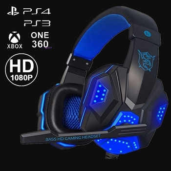 Gaming Headsets Big Headphones with Light Mic Stereo Earphones Deep Bass for PC Computer Gamer Laptop PS4 Games US Stock