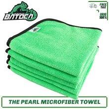 Batoca 16x16 polegada microfibra verde a pérola 340gsm toalhas profissional revestimento cerâmico selante interior detalhando pano