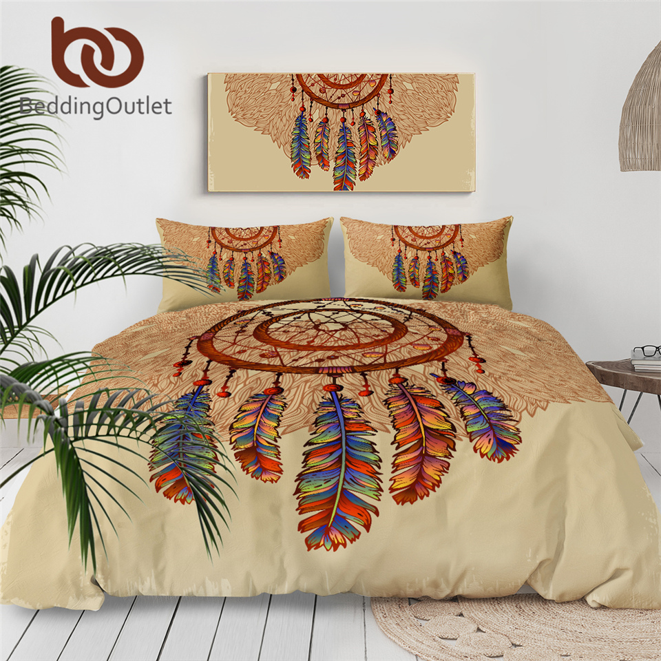 BeddingOutlet Dreamcatcher Bedding Set Feathers Gemstones Duvet Cover Astrology Magic Bed Set Beautiful Brown Bedclothes 3pcs