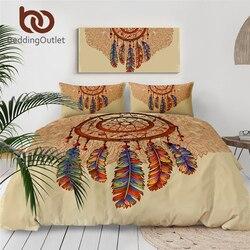 Beddingoutlet Dreamcatcher Set Tempat Tidur Bulu Batu Permata Duvet Cover Astrologi Sihir Bed Set Coklat Yang Indah Seprai 3 Pcs