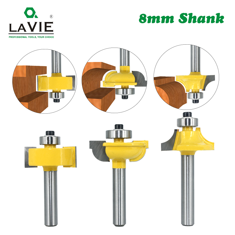 3pcs 8mm Shank Router Bits Set Beading Bit Round Over Bead Frame Door T V Shape Milling Cutter For Wood Power Tools 02125