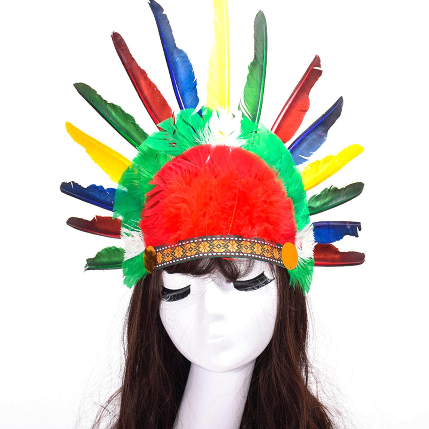 Vintage Indian Style Feather Headband Headpiece Headdress Toy For Kids Adults Thanksgiving Masquerade Party Costume