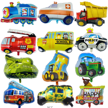 New Cartoon Car Balloons Fire Truck Car Train Foil Balloon Ambulance Globos Children Gifts Birthday Party Decorations Kids balls image