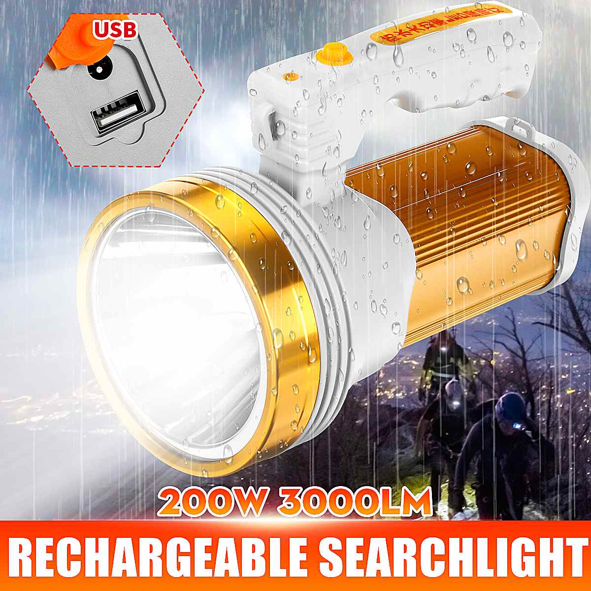 200W LED Portable Spotlight Lantern Searchlight Rechargeable Handheld High Power Portable Light For Outdoor Hunting Camping