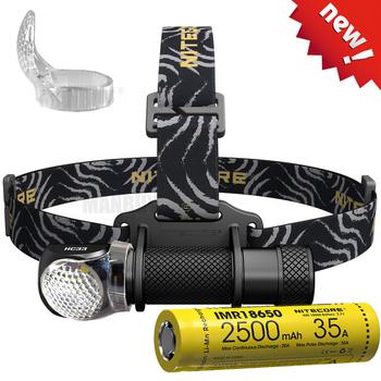 Sprzedaż NITECORE HC33 1800LMs reflektor 3500mAh 8A akumulator reflektor tarkawodoodpornal Camping podróży darmowa wysyłka tanie i dobre opinie CN (pochodzenie) Żarówki led Wysoka średnim niskie HC33-NL3500HP CREE XHP35 HD 180 ° ROHS Searching Camping Fishing