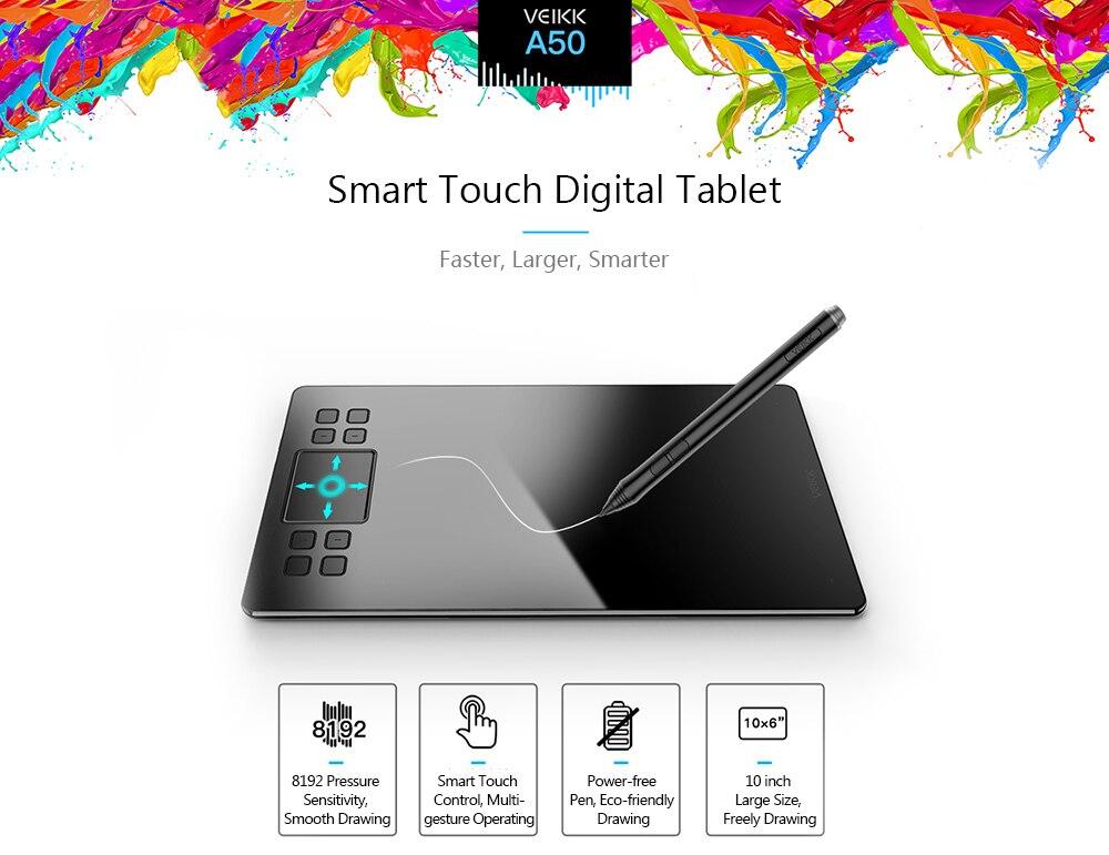 Графический планшет VEIKK A50 с цифровой панелью для рисования 10 дюймов ультратонкий 8192 уровней пассивный графический планшет с ручкой без питания