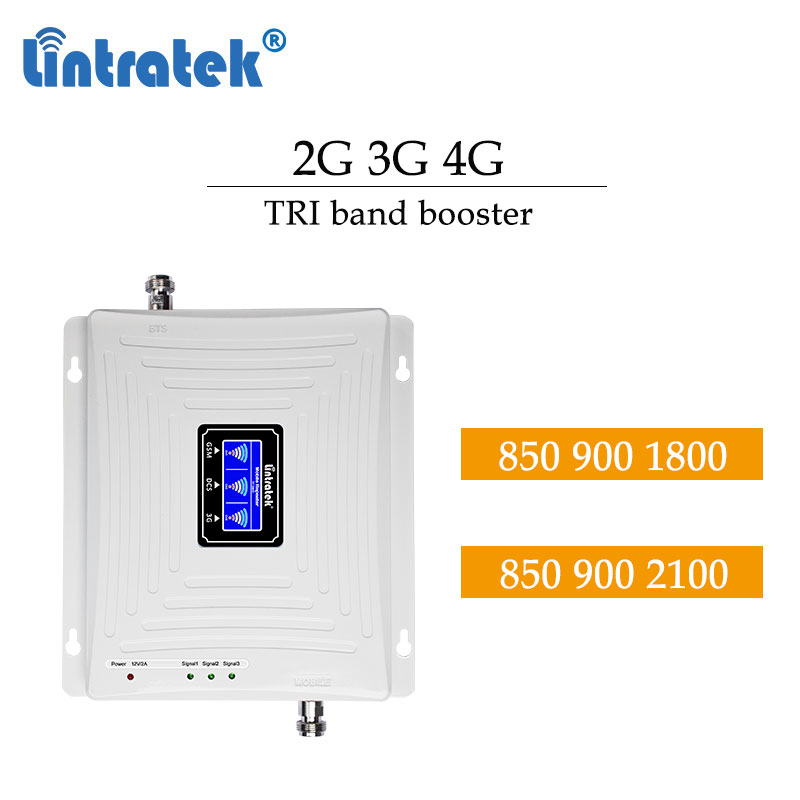 Lintratek 2G 3G 4G CDMA 850 900 DCS 1800 WCDMA 2100 Cellular Booster LCD Display Tri Band Cell Phone LTE Repeater Amplifier #dd