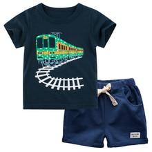 BINIDUCKLING Train Printed Boys Kid Clothes Set Summer Boys