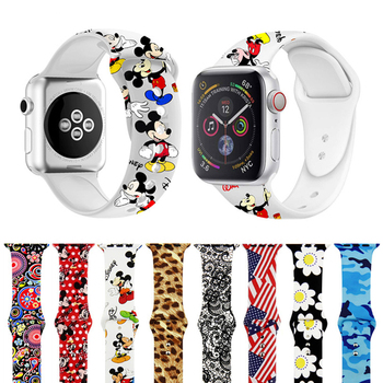 Printed Strap for apple watch 5 4 band 44mm 40mm iwatch 5 4 3 2 1 band 42mm 38mm Sport silicone bracelet wrist belt Accessories
