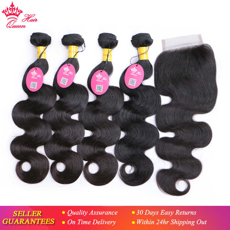 Queen Hair Products Peruvian Virgin Hair Body Wave 4 Bundles With Closure 100% Human Hair 5pcs/lot Bundles with Lace Closure