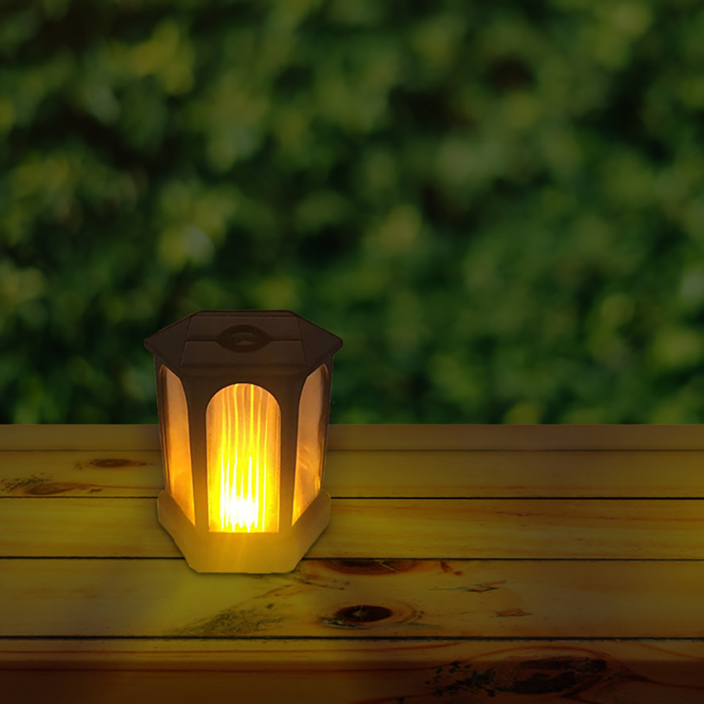 Landscape Flame Light Energy Saving Outdoor Led Waterproof Solar Powered Hexagonal Lamp Flickering Garden Party Decorations