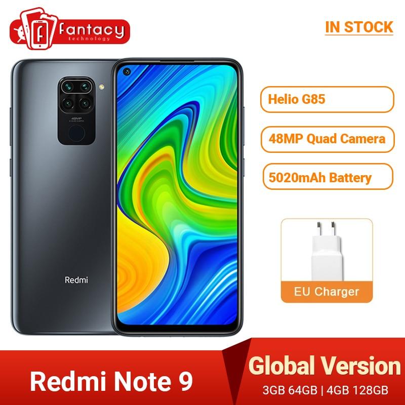 Global Version Xiaomi Redmi Note 9 Smartphone NFC 64GB 128GB Helio G85 6.53 48MP AI Quad Camera Note9 Mobile Phones 5020mAh 1