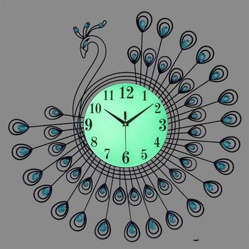 53x53cm świecenia zegar ścienny duży 3D złoty diament paw zegar ścienny metalowy zegarek dla domu pokój dzienny zegary dekoracji rzemiosło tanie i dobre opinie SALON Jedna twarz rozdzielone 5300mm Europejska 2000g Cyfrowy HW134 cartoon Igła w starodawnym stylu circular Płyta 9 mm